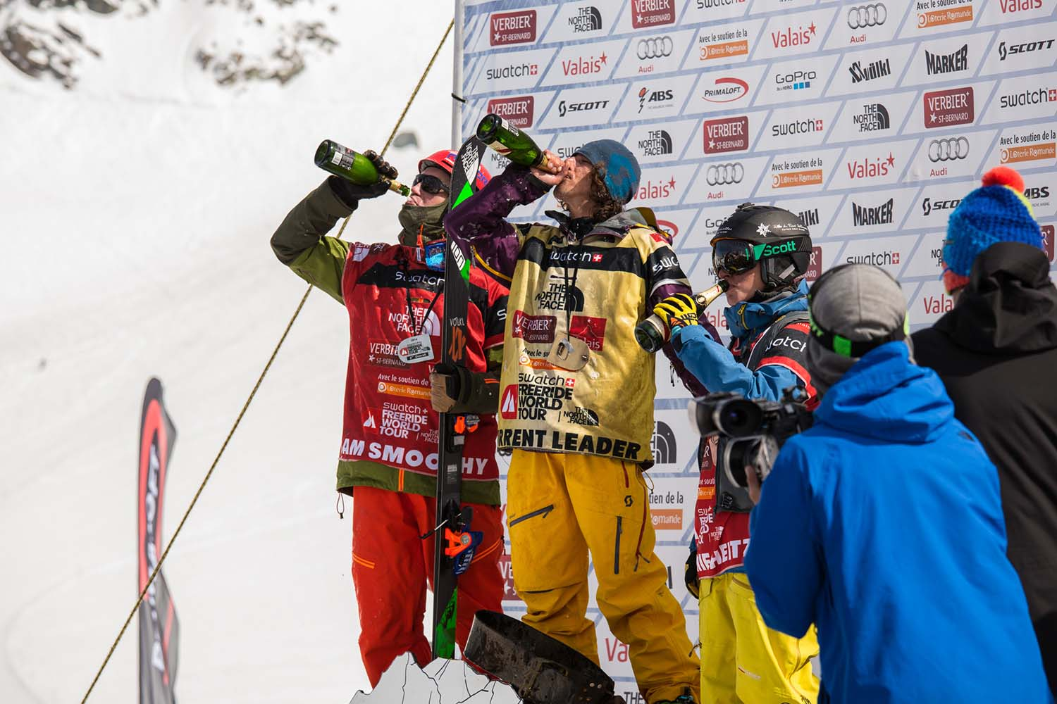 2014 FWT Overall podium enjoying their bubbles