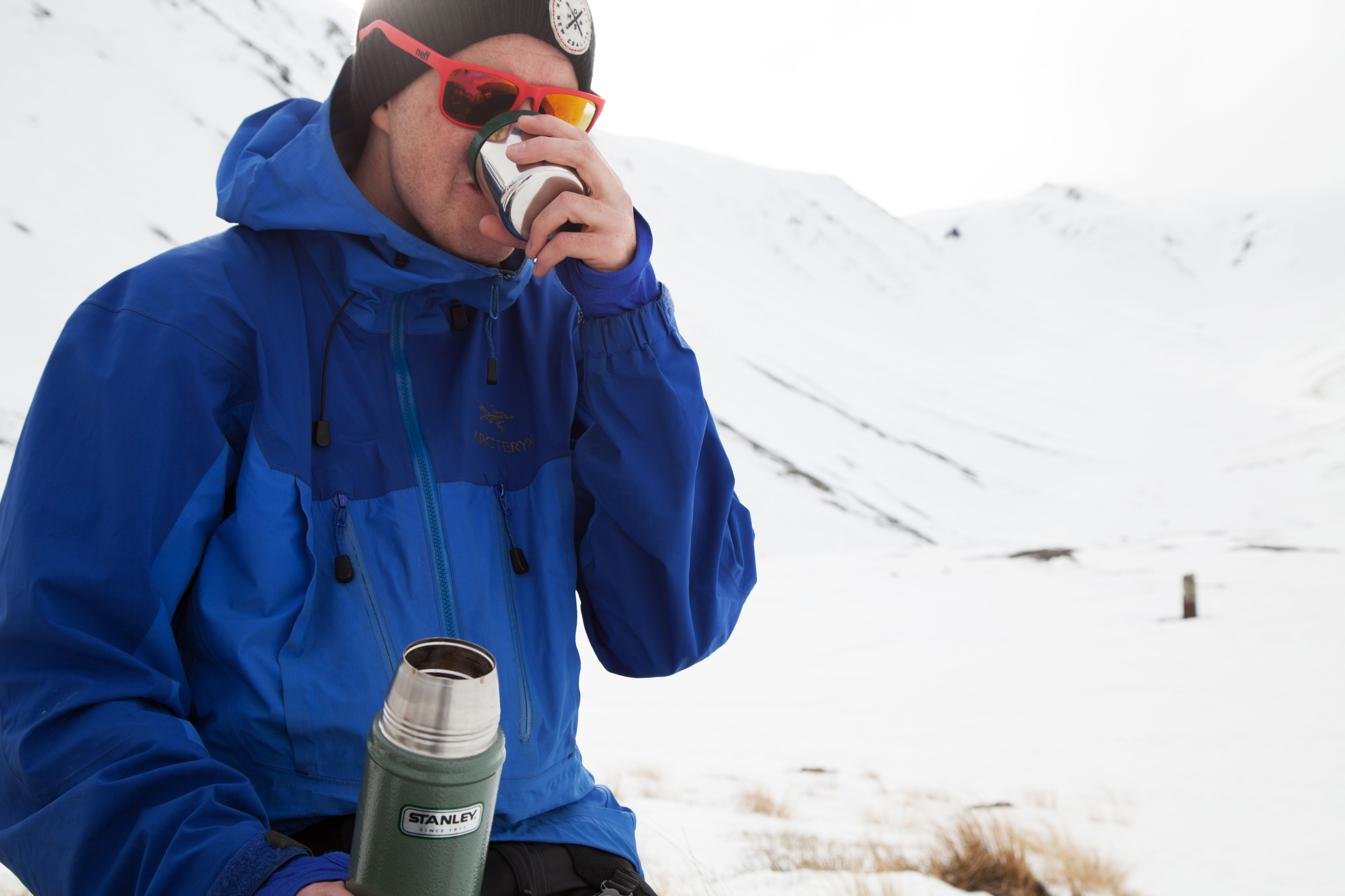 8. Elliot enjoying a cuppa before the walk back to the road