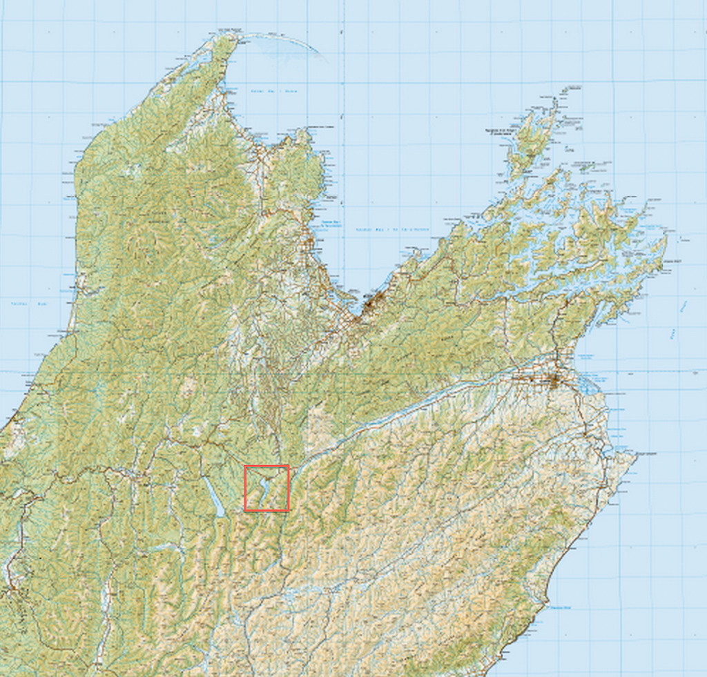 Overview map - red square showing Mt Robert location. Image from topomap.co.nz