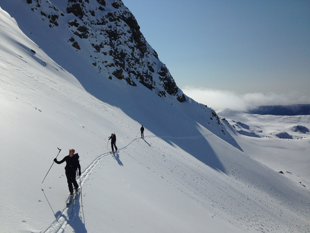 Skinning under Julius summit in Mt Robert 3rd Basin